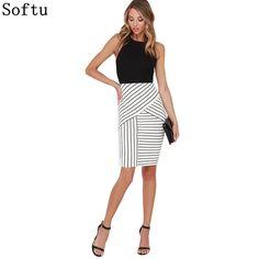 1b3d7421eca Softu Women s Fashion Dress Sexy Slim Sleeveless Dresses Striped Party Office  Wear Dress O Neck Knee Length Summer Dresses-in Dresses from Women s  Clothing ...