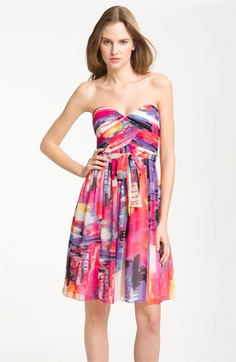 Donna Morgan Print Chiffon Dress | Nordstrom    i do not often love Strapless dresses but I think i LOVE this dress!