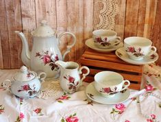 This vintage 1950s Moss Rose China Tea Set would be perfect for hosting a Bridal shower or Mothers Day Tea party. Bring a touch of class, nostalgia and a little Downton Abbey to your modern day world. This pretty 11 piece Moss Rose China Tea set includes:  * Teapot & lid (small chip in spout- please Vintage Love, Vintage Items, Equestrian Decor, China Tea Sets, College Gifts, Animal Pillows, Shabby Cottage, Cat Lover Gifts, Downton Abbey