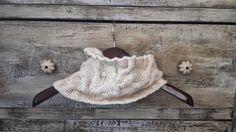 Cream Crisscross Hand-Knitted Cowl