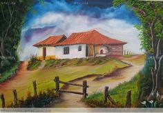 estampas típicas costarricenses en pintura - Buscar con Google Watercolor Drawing, Watercolor Paintings, Landscape Art, Landscape Paintings, Pictures To Paint, House Painting, Folk Art, Scenery, Around The Worlds