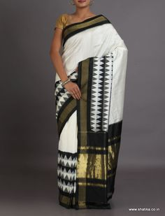 Anupama Black And White Ikat #PochampallySilkSaree