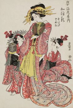 Kaoru of the Sugata-Ebiya, kamuro Nioi and Tomeki.  Ukiyo-e woodblock print.   About 1800, Japan.   Artist Utagawa Toyokuni I