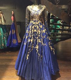 Gorgeous royal blue and gold gown by Shyamal and Bhumika. One of my favorite color combinations!
