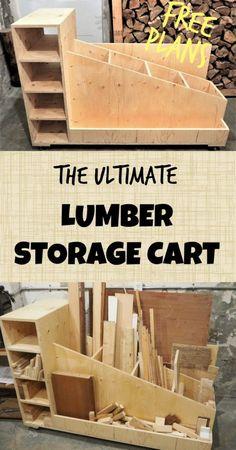 The Ultimate Lumber Storage Cart | FREE PLANS | DIY Montreal