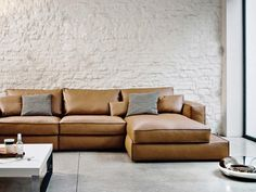 Sectional leather sofa CARESSE Frighetto Line by ESTEL GROUP | design Alessandro Dalla Pozza