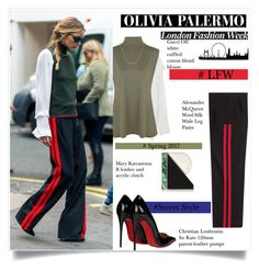 """""""Olivia Palermo  #LFW  street style"""" by sofirose ❤ liked on Polyvore featuring Gucci, WearAll, Dutch Basics, Alexander McQueen, Christian Louboutin, Mary Katrantzou, Chelsea28, StreetStyle, LFW and OliviaPalermo"""