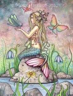 Mermaid Art Fantasy Print by Molly Harrison 12 x 16 'Creekside Magic' via Etsy. For the girls bathroom Fantasy Mermaids, Mermaids And Mermen, Mermaid Poster, Mermaid Fairy, Mystique, Tatoo Art, Merfolk, Fairy Art, Magical Creatures