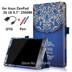 Luxury Stand Colored drawing zenpad 10 Z500M Print pu Leather Cases Cover For Asus ZenPad 3S 10 Z500M 9.7'' Tablet PC+OTG+Pen