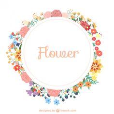 La corona de flores libre de la plantilla descarga