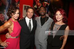 Karina Smirnoff, partner Doug Flutie, Antonio Brown and partner Sharna Burgess pose at the 22nd Season Stars of ABC's 'Dancing With The Stars' cast announcement at Planet Hollywood Times Square on March 8, 2016 in New York City.