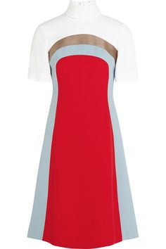 From his Fall '15 runway show, Jonathan Saunders' color-block dress is cut from crepe for a slim fit and finished with side slits. We love how the red and sky-blue panels have been placed for a flattering slimming effect. Team this piece with heeled sandals and a clutch. Shop it now at NET-A-PORTER