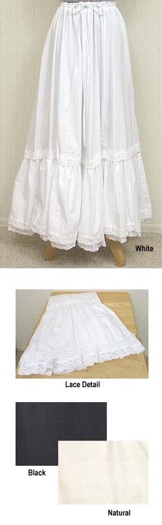 This pretty petticoat has two rows of ruffles at the bottom. It has a drawstring waist and is embellished with beautiful crocheted lace. Sho...