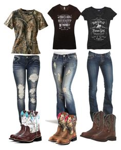 """""""ATV trip part 1"""" by johndeerhater ❤ liked on Polyvore featuring DK, 1921, Horseplay, Cowgirl Justice and Justin Boots"""