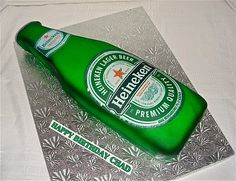 Heineken Beer Bottle cake made for a client's boyfriend's birthday. Bottle was airbrushed and an edible image was used for the logos. Gucci Cake, Chanel Cake, Beer Bottle Cake, Dad Cake, Happy Birthday, Men Birthday, Birthday Cakes, Cake Factory, Creative Cakes