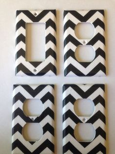 Black and White chevron striped single by COUTURELIGHTPLATES, $14.95 bedroom decor, bathroom decor , shabby chic, teen room decor