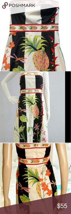 J . Crew pineapple For sele gorgeous pineapple J.CREW strapless dress  This dress is great for special occasions, or just to wear it to the Downtown,  very fun and versatile . Full zipper at the back, there is no pockets. Fully lined, great side support.  Mid length style J. Crew Dresses Midi