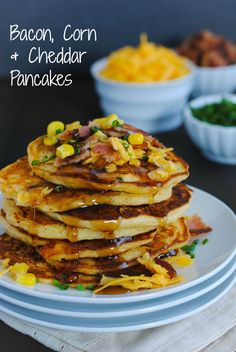 Bacon, Corn & Cheddar Pancakes - A savory treat for breakfast or breakfast-for-dinner! | foxeslovelemons.com