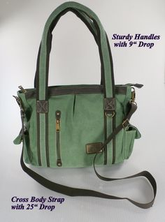 """The """"Business Casual"""" -  Canvas Shoulder / Cross Body Concealed Carry Briefcase / Tote /Mom Bag - Huge Interior - Large Holster"""
