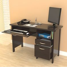 @Overstock.com - Inval Softform Espresso Computer Desk - Organize your work area more efficiently with this sleek espresso computer desk. This desk features a storage area, one accessory drawer and one file drawer. A slide out keyboard shelf concealed by a mock center drawer adds to the smart style.  http://www.overstock.com/Home-Garden/Inval-Softform-Espresso-Computer-Desk/6412911/product.html?CID=214117 $166.77