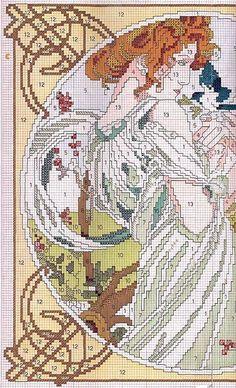 0 point de croix femme art nouveau - cross stitch lady art nouveau part 1