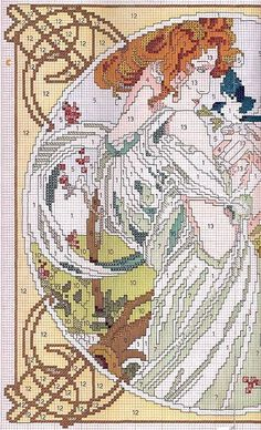 0 point de croix femme art nouveau - cross stitch lady art nouveau part 1