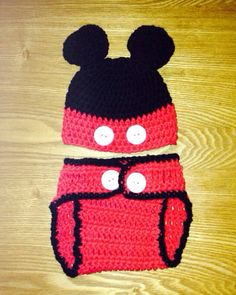 Baby Mickey Mouse Hat and Diaper Cover by CozyNooks on Etsy