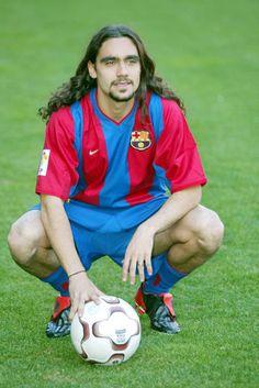 Juan Pablo Sorin, el día de su presentación en 2003 en el FC Barcelona. Juanpi disputó muy buenos partidos en el Barça antes de dejar el club.