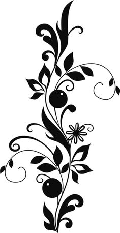 "Photo from album ""Растительные узоры PNG"" on Yandex. Stencil Patterns, Stencil Designs, Paint Designs, Embroidery Patterns, Page Borders Design, Border Design, Flower Silhouette, Silhouette Art, Wall Painting Decor"
