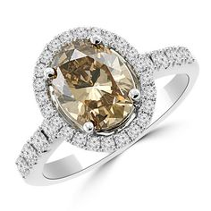 Jewelry Point - 2.61ct Halo VS1 Champagne Diamond Engagement Ring 18k Gold, $7,500.00 (http://www.jewelrypoint.com/2-61ct-halo-vs1-champagne-diamond-engagement-ring-18k-gold/)