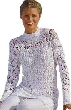 Белый ажурный свитер - вязание спицами.
