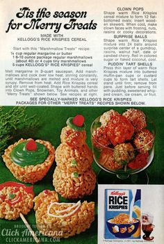 'Tis the season for Merry Rice Krispies Treats - Click Americana Christmas Cooking, Christmas Desserts, Christmas Treats, Christmas Goodies, Xmas Food, Christmas Images, Holiday Treats, Christmas Eve, Retro Recipes
