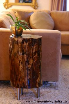 lovely ideas for home decor, wooden log base as side table, rustic ideas for decorating the living room