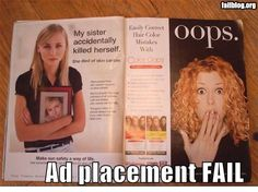 "Ad Placement Fail - Tragic Story beside a big ""Oops"""