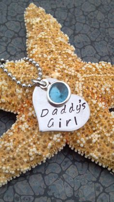 Stainless steel heart hand stamped daddy's by DawnsMetalDesigns, $15.00
