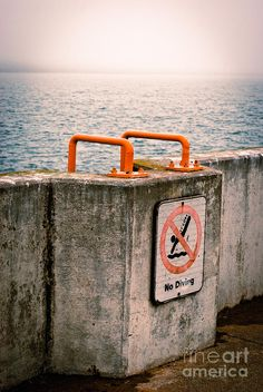 'No Diving' by Mark David Zahn Photography (formerly Shutter Happens Photography).  Taken in March 2012 overlooking Lake Superior at Canal Park, Duluth, Minnesota US.