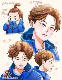 EXO fanart By . Jooheon, Winwin, Baekhyun, Exo Fan Art, Kpop Drawings, Xiuchen, Kim Min Seok, Exo Memes, Kpop Exo