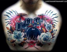 Beautiful drumset tattoo