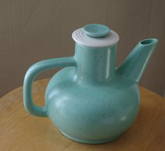 Beautiful Mid Century Modern Mint Green Speckled Ceramic Coffee Pot by retrowarehouse on Etsy