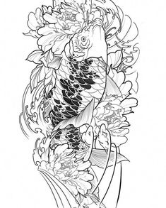 I unquestionably have an appreciation for the hues, outlines, and fine detail. This is a really great concept if you want a Koi Dragon Tattoo, Carp Tattoo, Hannya Tattoo, Chinese Dragon Tattoos, Koi Fish Tattoo, Sharpie Drawings, Fish Drawings, Japanese Tattoo Art, Rouge
