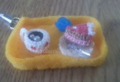 Miniature crochet slice of cake and coffee mobile strap