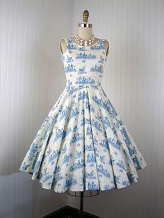Want it!   1950s 1960s Dress -  FRENCH COUNTRY Vintage 50s 60s Cotton Blue Ivory Novelty Toile Circle Skirt Day Party Sundress xs. $78.00, via Etsy.