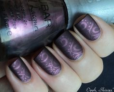 For this mani I used 2 thin coats of Nubar Prevail and stamped with Konad plate m64 and China Glaze Joy. After applying top coat to the mani...