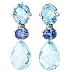 ReneSim Blue Topaz Gold Drop Earrings | From a unique collection of vintage drop earrings at https://www.1stdibs.com/jewelry/earrings/drop-earrings/