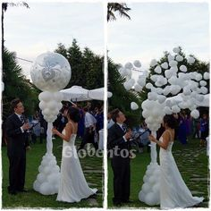 """Balloon stuffed with 5 """"hearts bursts and creates a beautiful surprise effect, not just for the bride. Wedding Balloon Decorations, Wedding Balloons, Wedding Themes, Bride Balloon, Deco Ballon, Balloon Arrangements, Balloon Columns, Deco Floral, Wedding Engagement"""