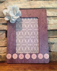 Purple Wooden Picture Frame Embellished with a Grey Burlap Flower on Etsy, $15.00