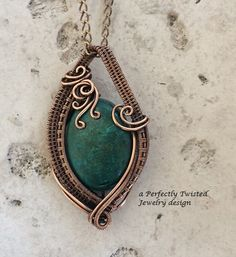Chrysocolla Wire Wrap Pendant Necklace by PerfectlyTwisted on Etsy
