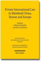 Private International Law in Mainland China, Taiwan and Europe