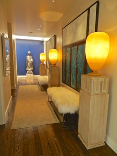 A windowless hallway becomes a gorgeous gallery!  By Dann Inc.  www.danninc.com  #InteriorDesign #Gallery #RanchoMirage #Morningside #CountryClub #Home #Decor #Design #art