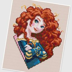PDF Cross Stitch pattern  0003.Princess Merida Brave  by PIXcross